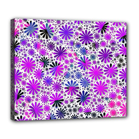 Lovely Allover Flower Shapes Pink Deluxe Canvas 24  X 20