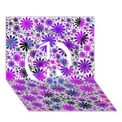 Lovely Allover Flower Shapes Pink Peace Sign 3D Greeting Card (7x5)