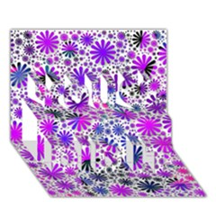 Lovely Allover Flower Shapes Pink You Did It 3d Greeting Card (7x5)