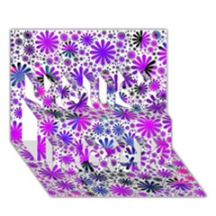 Lovely Allover Flower Shapes Pink You Rock 3d Greeting Card (7x5)