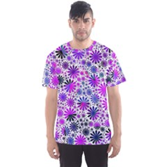 Lovely Allover Flower Shapes Pink Men s Sport Mesh Tees