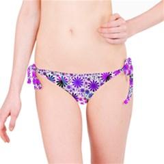 Lovely Allover Flower Shapes Pink Bikini Bottoms