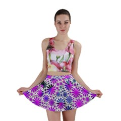 Lovely Allover Flower Shapes Pink Mini Skirts