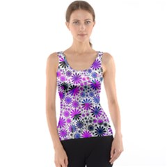 Lovely Allover Flower Shapes Pink Tank Tops
