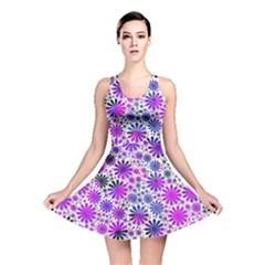 Lovely Allover Flower Shapes Pink Reversible Skater Dresses