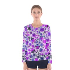 Lovely Allover Flower Shapes Pink Women s Long Sleeve T-shirts