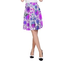 Lovely Allover Flower Shapes Pink A Line Skirts