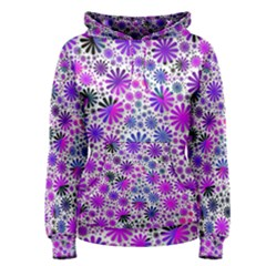 Lovely Allover Flower Shapes Pink Women s Pullover Hoodies
