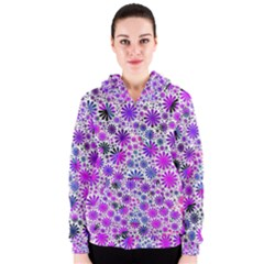Lovely Allover Flower Shapes Pink Women s Zipper Hoodies