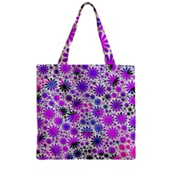 Lovely Allover Flower Shapes Pink Zipper Grocery Tote Bags