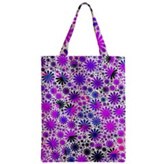 Lovely Allover Flower Shapes Pink Zipper Classic Tote Bags