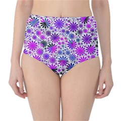 Lovely Allover Flower Shapes Pink High-Waist Bikini Bottoms