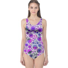 Lovely Allover Flower Shapes Pink Women s One Piece Swimsuits