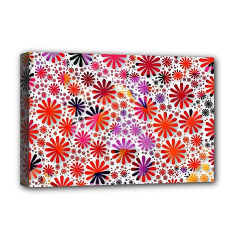 Lovely Allover Flower Shapes Deluxe Canvas 18  x 12