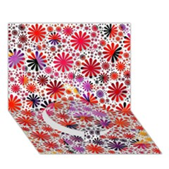 Lovely Allover Flower Shapes Circle Bottom 3d Greeting Card (7x5)