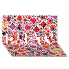 Lovely Allover Flower Shapes PARTY 3D Greeting Card (8x4)