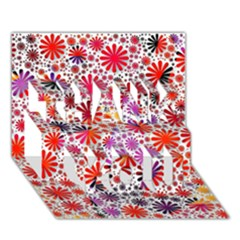 Lovely Allover Flower Shapes Thank You 3d Greeting Card (7x5)