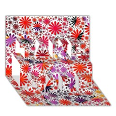 Lovely Allover Flower Shapes TAKE CARE 3D Greeting Card (7x5)