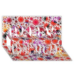 Lovely Allover Flower Shapes Happy New Year 3d Greeting Card (8x4)