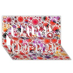 Lovely Allover Flower Shapes Laugh Live Love 3d Greeting Card (8x4)