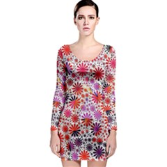 Lovely Allover Flower Shapes Long Sleeve Bodycon Dresses