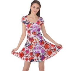 Lovely Allover Flower Shapes Cap Sleeve Dresses