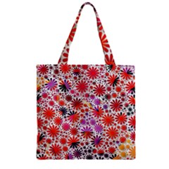 Lovely Allover Flower Shapes Zipper Grocery Tote Bags
