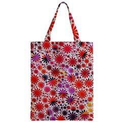 Lovely Allover Flower Shapes Zipper Classic Tote Bags
