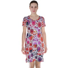 Lovely Allover Flower Shapes Short Sleeve Nightdresses