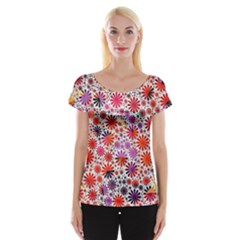 Lovely Allover Flower Shapes Women s Cap Sleeve Top