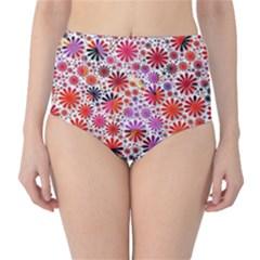 Lovely Allover Flower Shapes High Waist Bikini Bottoms