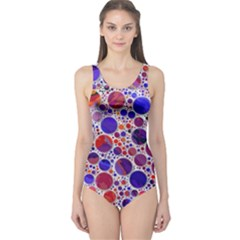 Lovely Allover Hot Shapes Blue Women s One Piece Swimsuits