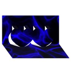 Cosmic Energy Blue Twin Hearts 3D Greeting Card (8x4)