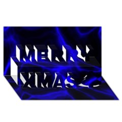 Cosmic Energy Blue Merry Xmas 3D Greeting Card (8x4)