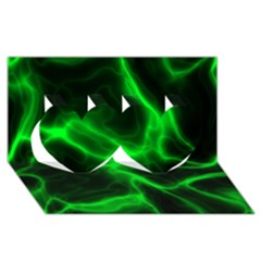 Cosmic Energy Green Twin Hearts 3d Greeting Card (8x4)