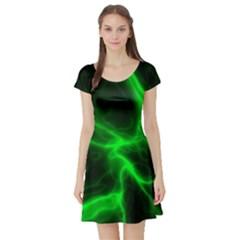 Cosmic Energy Green Short Sleeve Skater Dresses