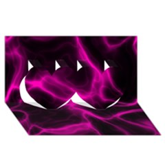 Cosmic Energy Pink Twin Hearts 3D Greeting Card (8x4)