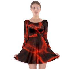 Cosmic Energy Red Long Sleeve Skater Dress