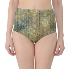 Beautiful  Decorative Vintage Design High-Waist Bikini Bottoms