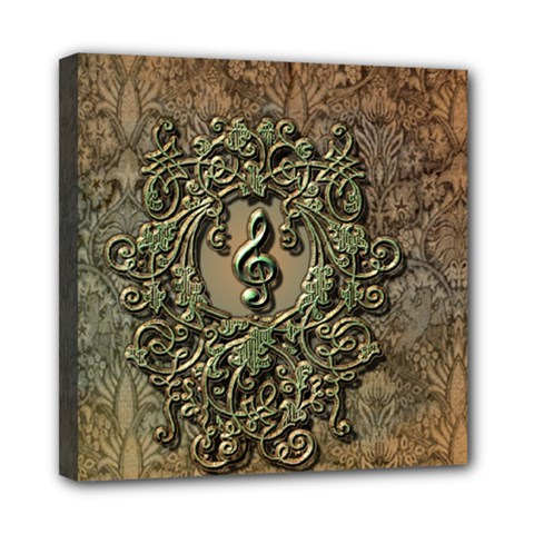 Elegant Clef With Floral Elements On A Background With Damasks Mini Canvas 8  x 8