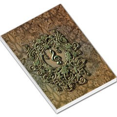 Elegant Clef With Floral Elements On A Background With Damasks Large Memo Pads