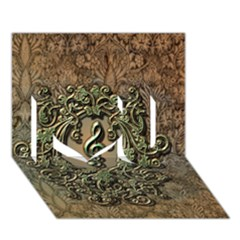 Elegant Clef With Floral Elements On A Background With Damasks I Love You 3D Greeting Card (7x5)