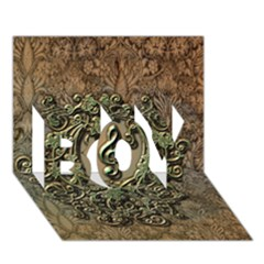Elegant Clef With Floral Elements On A Background With Damasks Boy 3d Greeting Card (7x5)