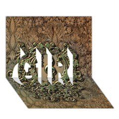 Elegant Clef With Floral Elements On A Background With Damasks GIRL 3D Greeting Card (7x5)