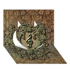 Elegant Clef With Floral Elements On A Background With Damasks Heart 3D Greeting Card (7x5)