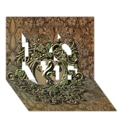Elegant Clef With Floral Elements On A Background With Damasks Love 3d Greeting Card (7x5)