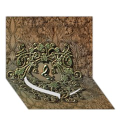 Elegant Clef With Floral Elements On A Background With Damasks Heart Bottom 3D Greeting Card (7x5)