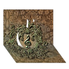 Elegant Clef With Floral Elements On A Background With Damasks Apple 3D Greeting Card (7x5)