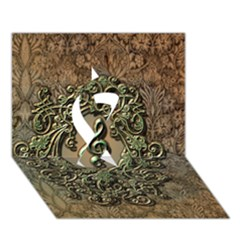 Elegant Clef With Floral Elements On A Background With Damasks Ribbon 3D Greeting Card (7x5)