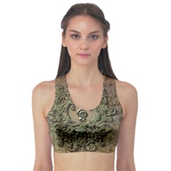 Elegant Clef With Floral Elements On A Background With Damasks Sports Bra